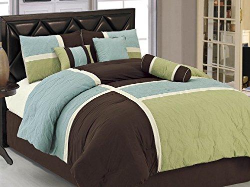 Luxlen 7 Piece Luxury Bed in Bag Closeout Comforter Set, Queen, Brown/Green
