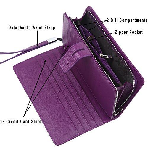 For Women Organizer Wallet Purple Real checkbook rfid Blocking Checkbook Holder Clutch Leather wT554q