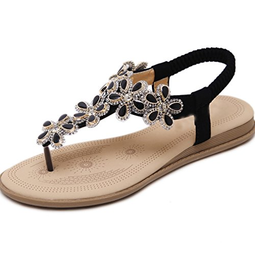 Femmes Sandales Mode Pantalons De Sandales D'été Toe Plat Strass Femmes Sandales Pantoufles Chaussures Pieds Chuck Femmes Noir Casual XIAOQI Sandales Perles Pantoufles X0rHXI