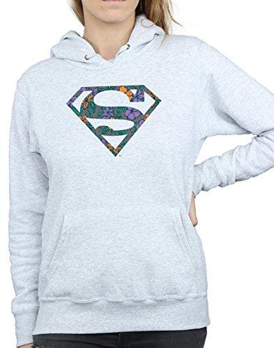 Comic Heather Floral 1 À Superman Gris Sweat Logo Femme Dc Capuche Hd4qAzqU