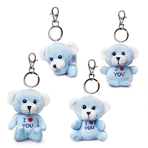 Bear of Allan Stuffed Animal Mini Teddy Bear Keychain Set, Pack Four, 2.57Inch (Blue) ()