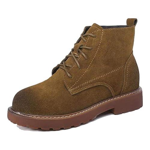 Botines de Mujer Otoño Invierno con Cordones Scrub Tacones Cuadrados Zapatos de Plataforma de Microfibra de Cuero de Vaca Martin Boot: Amazon.es: Zapatos y ...