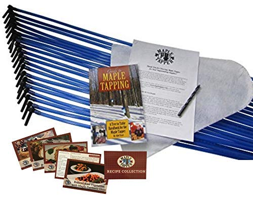 Deluxe Maple Syrup Tree Tapping Kit – (20) Taps + (20) 3-Foot Drop Line Tubes + 8-Quart Sap Filter – Dark Blue Premium Food Grade Tubing - Recipe Cards, Drill Bit, 80 Page Guide to Maple Tapping Book ()
