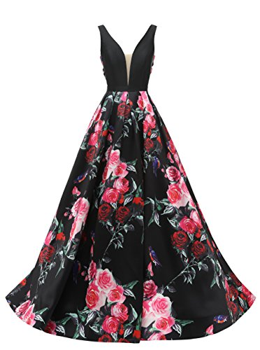 SHANGSHANGXI Women Printed Flower V Neck Backless Prom Dress Party Gown Evening Dress 16 (Prom Slim Gown)