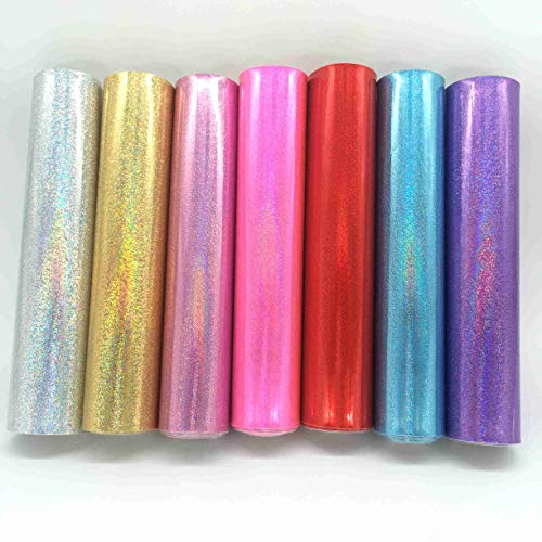 ZAIONE 7pcs 8 x 12 (20cm x 30cm) Sheets Holographic Smooth Fine Glitter Sparkle Leather Fabric Craft Material Making Bag Sewing Patchwork DIY Craft (7 Colors)