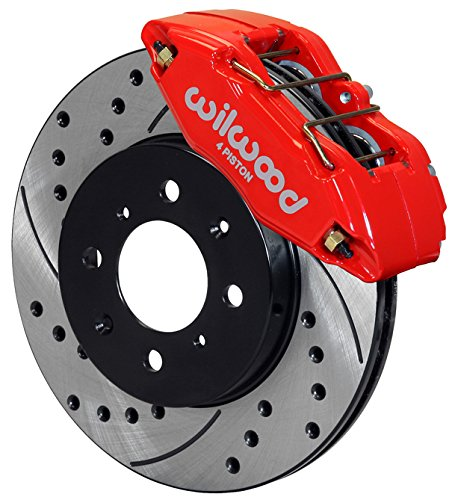 Wilwood 140-12996-DR Brake Kit with Drilled Rotors, Red, Front -