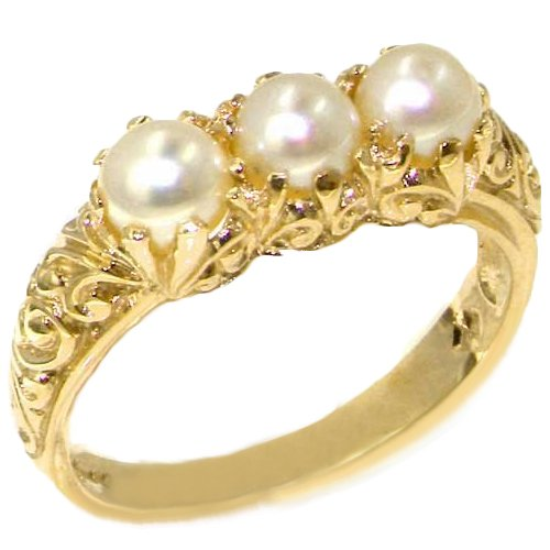 LetsBuyGold 14k Yellow Gold Cultured Pearl Womens Trilogy Ring - Size 5.75 (White Gold Trilogy Ring)