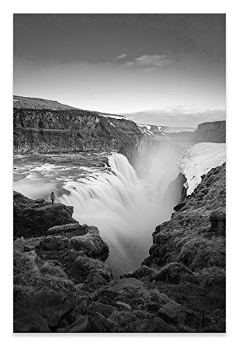 Gulfoss fall canvas iceland black white portrait wall art picture home decor living room bathroom art