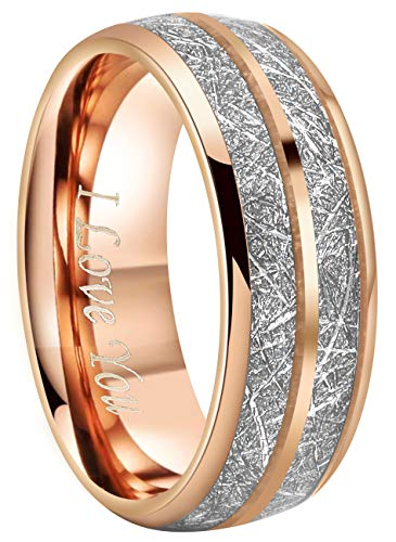 5mm Plain Band Ring Domed - Crownal 8mm Imitated Meteorite Rose Gold Tungsten Wedding Ring Band Engagement Ring Domed Polished Engraved