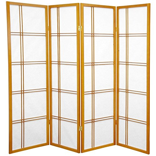 Oriental Furniture 5 ft. Tall Double Cross Shoji Screen - Honey - 4 Panels