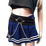 Women's Faux Leather Waist Belt Rave Body Caged Harness Punk Adjustable Garter Belt with Metal Chain Tassel(YL-09Black)