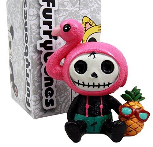 Atlantic Collectibles Furry Bones Tropical Pineapple Flamingo Costume Skeleton Monster Collectible Figurine (Costume Halloween Santa Muerte)