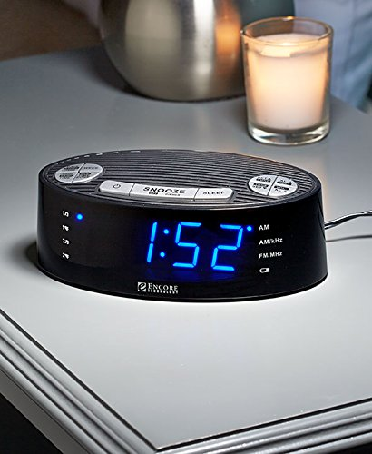 Encore AM/FM Auto Set Alarm Clock Digital Radio with Larg...
