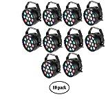 Lixada 10 Packs DMX-512 RGBW LED Stage PAR Light Strobe Professional 8 Channel Party Disco DJ Show 15W AC 100-240V