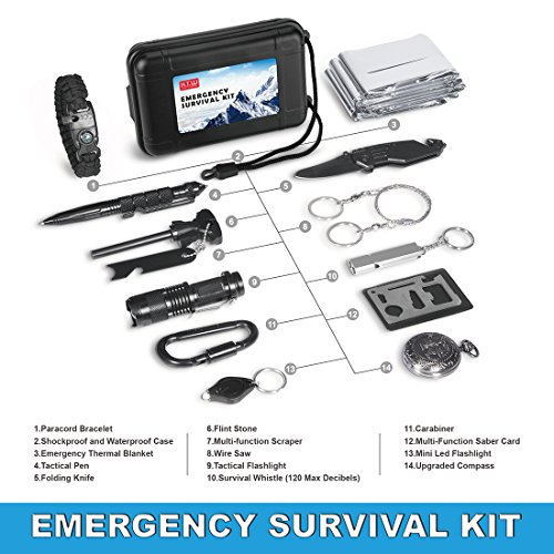 Survival Gear Kit 14 in 1, H.T.W Outdoor Emergency EDC Tool Set With Emergency Blanket, Paracord Bracelet, Compass, Carabiner,Folding Knife Ect for Wilderness/Trip/Car/Hunting/Hiking/Camping/Adventure