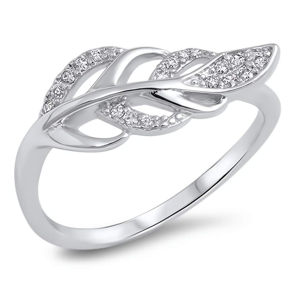 Glitzs Jewels 925 Sterling Silver CZ Ring Cubic Zirconia Jewelry Gift Clear//Feather