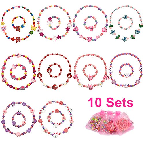 [VALUE BUNDLE] PinkSheep Woodland Animal Friends Necklace & Bracelet Jewelry Value Set, 10 Sets, Wooden Bead, Children Kids Little Girl Kids Party Favor
