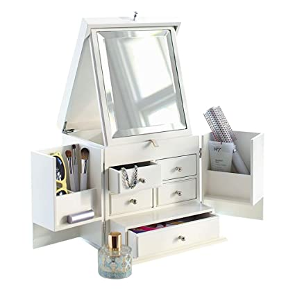 Merveilleux Dustproof White Makeup Organizers And Storage, Household Wooden Makeup  Organizer Drawers With Mirror, Dressing