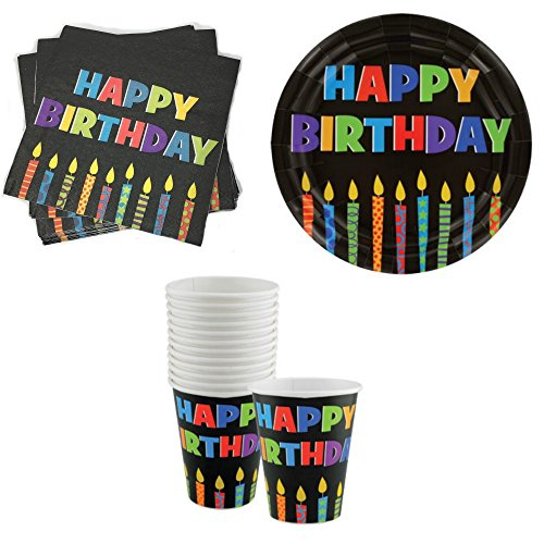 Party Time Happy Birthday W/ Candles Paper Plates (18), Luncheon Napkins (20) & 9 Oz. Cups with Circle Graphic - Happy Birthday Cups