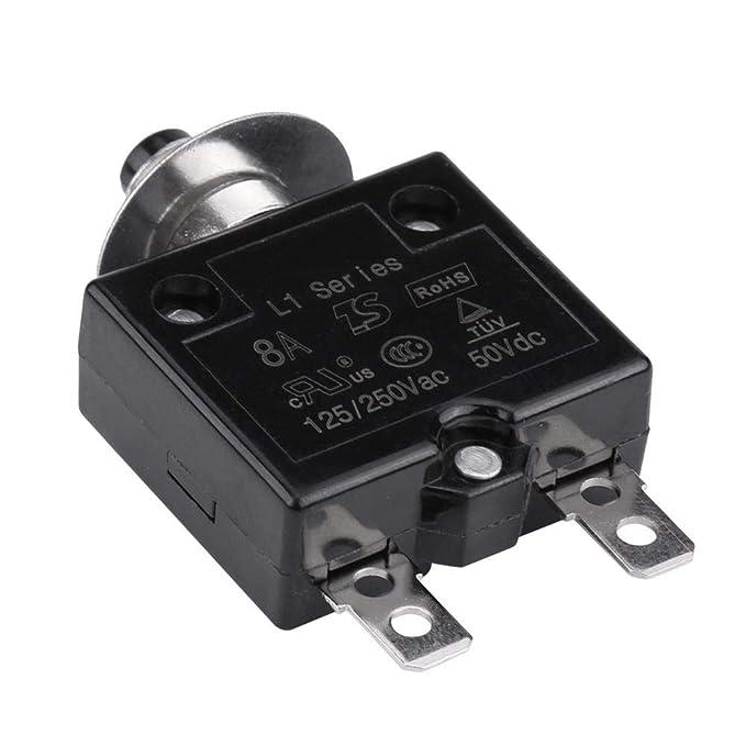 Interruttore automatico 8A Akozon ripristino manuale Interruttori termici Pulsante sopra protezione sovraccarico corrente