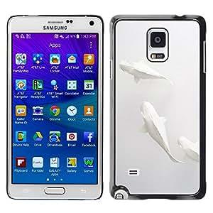 [Neutron-Star] Snap-on Series Teléfono Carcasa Funda Case Caso para Samsung Galaxy Note 4 [Pescados del arte minimalista Papel Lápiz]