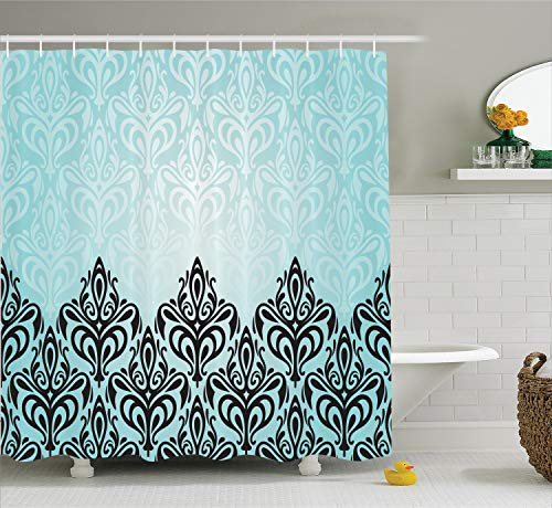 Ambesonne Damask Shower Curtain, Modern Damask Motif with Symmetric Lines Royal Baby Color Bold Floral Pattern, Cloth Fabric Bathroom Decor Set with Hooks, 75