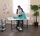 quilting table fold down - Studio Designs 13377 Mobile Storage, Fixed Height Fabric Cutting Table, Charcoal/White