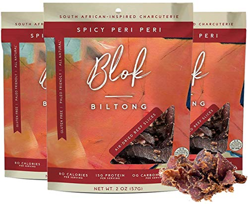 Blok Biltong: Air-Dried Beef Slices - 2 OZ Bag - 30G of Protein - Hand-Cut Strips of American Steak - No Sugar, Carbs, Soy - Paleo, Keto, Gluten-Free, and Carnivore Diet Friendly - 3 Packs