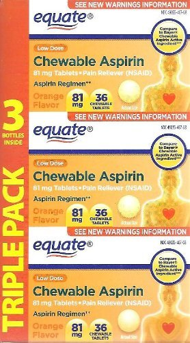 Baby Aspirin (Equate Aspirin 81 Mg, Adult Low Dose, Orange Flavor, 108 Chewable Tablets, (Compare to Bayer Chewable Aspirin))