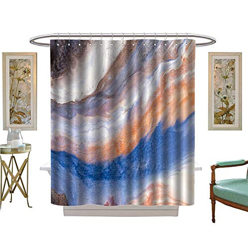 - luvoluxhome Shower Curtains Waterproof Painted Background Wallpaper Texture Acrylic Paint on Canvas Patterned Shower Curtain W48 x L84