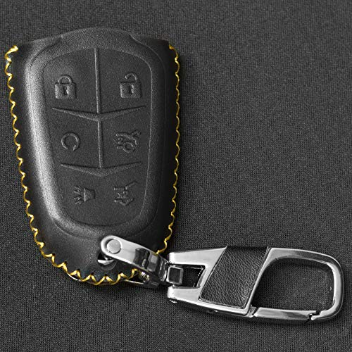 (Black 6 Button Calfskin Genuine Leather Cadillac Key Fob Cover - 2015-2019 Cadillac Button Cover - Smart Key Holder Case - Fits Escalade, CTS, SRX, XT5, ATS, STS, and CT6)
