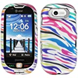 Silver Pink Blue Green Orange Purple Color Zebra Rubberized Design Snap on Hard Cover Protector Faceplate Cell Phone Case for AT&T Pantech Ease P2020 + Premium LCD Screen Guard Film