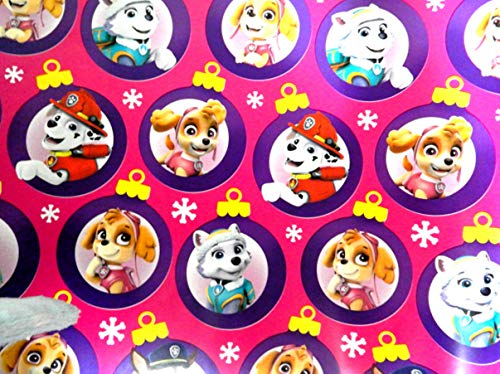 (Girls Pink Paw Patrol Christmas Gift Wrapping Paper Featuring Skye and Everest 70 sq ft Roll)