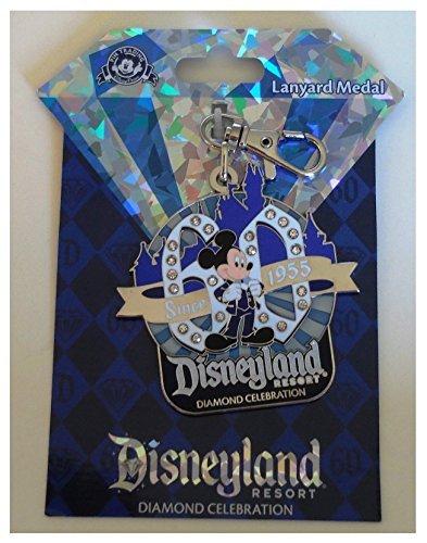 Medal Disney Pin - Disneyland 60th Anniversary Diamond Celebration Disney Mickey Mouse Since 1955 Lanyard Medal