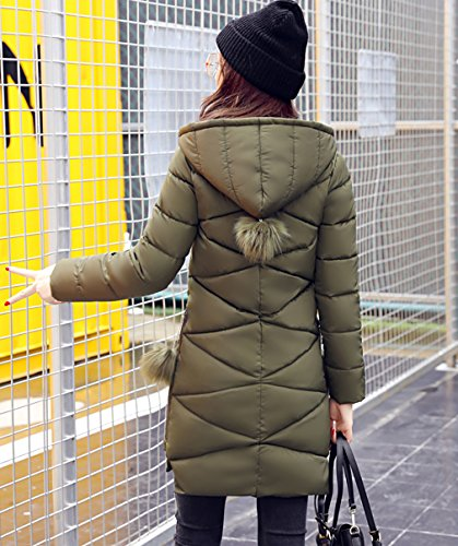 Ladies Autumn Women's Winter Green Down Packable Coat Long Bigood Army Hooded twdSqt