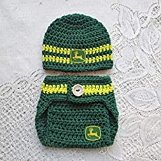Crochet Baby John Deere Hat and Diaper Cover Set - Baby Photo Prop - Baby  Shower. 2d79a5ebe53