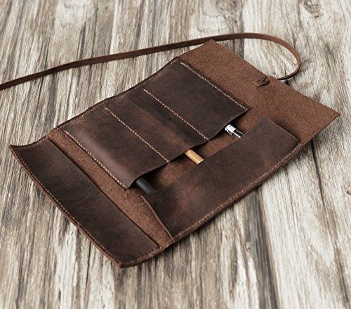 Personalized Leather Pencil Case Roll, Pen Case, Tool Roll, Makeup Brush Holder, Art Wrap, Makeup bag, Pencil Organizer, Dopp kit, Vintage, Distressed Brown by EXTRA STUDIO