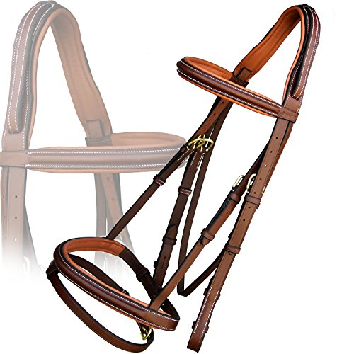 Exion Anti Pressure Cut Head Piece Raised Padded Leather Bridle with PP Rubber Grip Reins and Brass Buckles | Equestrian Show Jumping Padded Bridle Set | English Horse Riding Tack | Oak Brown | Full