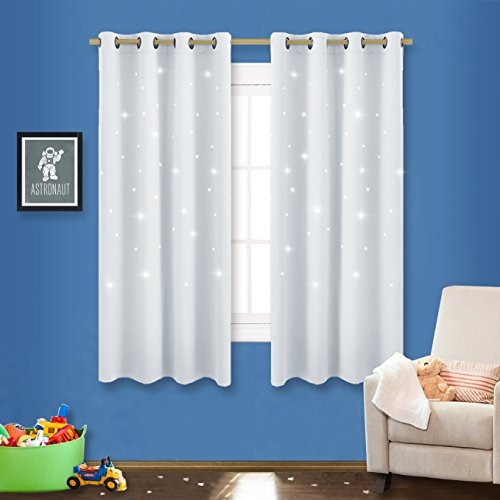 Bedroom Star Room Darkening Curtains - NICETOWN Zodiac Constellation Drapes with Star Cut Out Design, Nursery/ Kid's Bedroom Essential (Two Pieces,52W x 63L, Platinum-Greyish White)