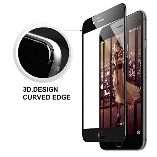 iPhone 6s 3D Screen Protector, GODOSMITH® Ice Max Series Fully Coverage [3D Curved] Protector cover, Ultra Thin Anti-scratch Edge-to Edge 3D Tempered Glass Screen Protector for iPhone 6, iPhone 6s [3D Touch Compatible](Black)
