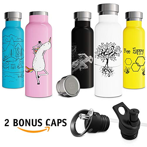 Insulated Water Bottle with BPA Free Lid with Straw Push-Pull Cap Double Walled Vacuum Insulated Stainless Steel Eco Friendly Sweat Proof Durable Finish 20 oz White Thermos