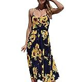 KMG Kimloog Women Sleeveless Summer Tropical Leaves Printed Button Halter Long Dress (L, Navy)