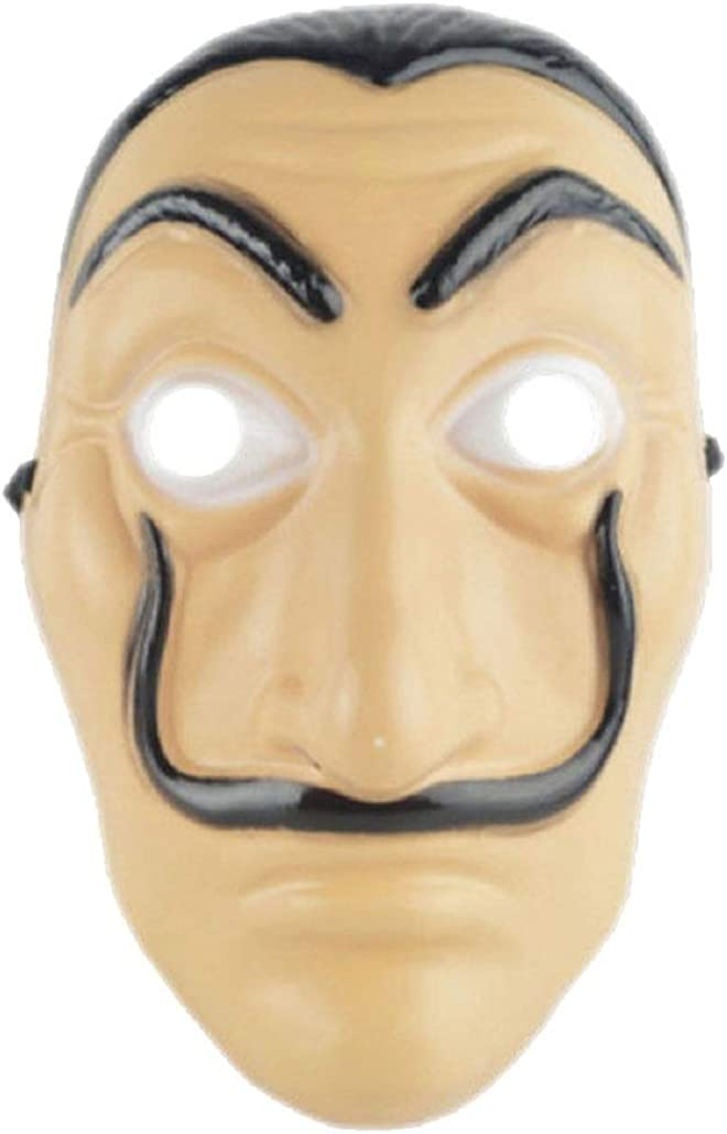 Halloween Salvador Dali Mask  LA CASA DE Papel  Trendy TV Series Accesorie for Party  Cosplay  Role Play  Parade and Decoration  Unisex Beige
