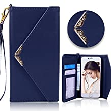 iPhone 5 5S Wallet Case,Vandot Premium Envelope Flip Folio Handbag Shell PU Leather Magnetic Shockproof Protective Skin Cover with Credit Card Holders Wrist Strap for Apple iPhone SE 5 5S-Dark Blue
