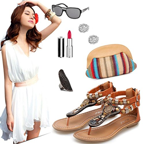 Sandals Zipper Flat Summer Women Brown Flip Beach Flops AMA Toe Sandals TM Clip Retro Shoes UPIppE1qW