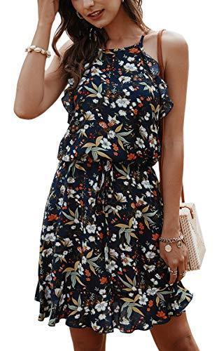 ECOWISH 2020 Women Dress Boho Floral Print Halter Neck Summer Sleeveless Ruffle Hem Casual Swing Mini Dress with Belt
