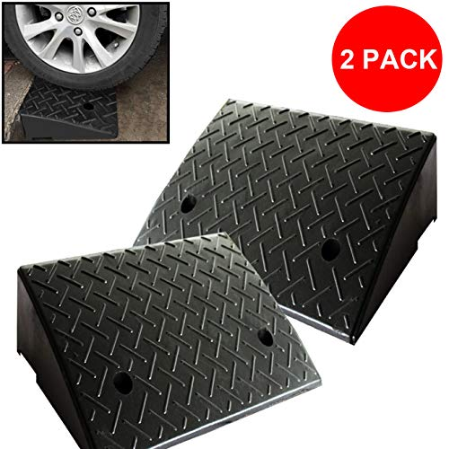 (Reliancer 2 Rubber Curb Ramps Heavy Duty 44000 lbs Threshold Ramp Professional Grade Loading Ramps Car Slope Ramp Motorcycle Ramp for Loading Dock Driveway Vehicles SUV Truck Forklifts Wheelchair Bike)