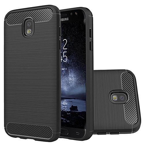 Samsung Galaxy J7 Pro Case,Galaxy J730 2017 Case,Ultra Thin Light Weight Case Flexible TPU Bumper Carbon Fiber Shock Absorbing Slim Fit Back Cover for Galaxy J7 Pro (Black)