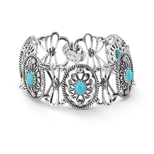 American West Genuine .925 Sterling Silver Blue Turquoise Concha Link Bracelet by American West
