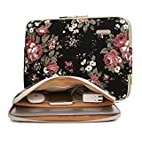 KAYOND Black Chinese Rose Pattern Water-resistant 12.5 inch 13 inch Canvas laptop sleeve with pocket 13.3 inch laptop case macbook air 13 case macbook pro 13 sleeve ipad 12.9